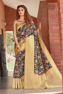 Picture of Black Colored Printed Designer Party Wear Silk Saree
