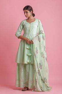 Picture of Light Green Colored Peplum Style Palazzo Suit