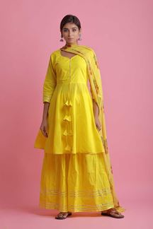 Picture of Yellow Colored Peplum Style Palazzo Suit