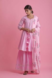 Picture of Baby Pink Colored Peplum Style Palazzo Suit