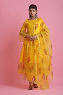 Picture of Yellow Colored Cotton & Organza Pant Style Suit