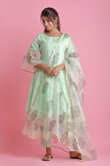 Picture of Light Green Colored Cotton & Organza Pant Style Suit