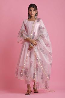 Picture of Baby Pink Colored Cotton & Organza Pant Style Suit