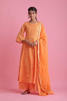 Picture of Orange Colored Hand Block Print Palazzo Suit