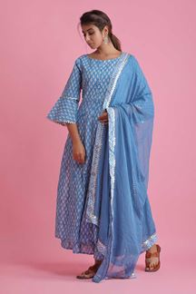 Picture of Blue Colored Hand Block Print Palazzo Suit