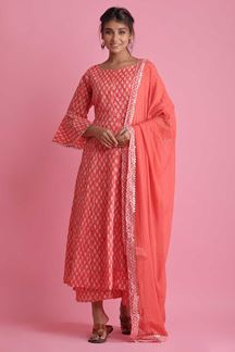 Picture of Red Colored Hand Block Print Palazzo Suit