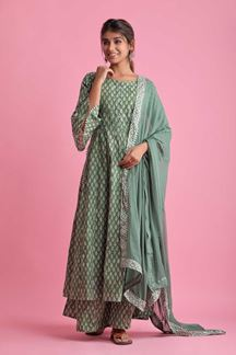 Picture of Olive Colored Hand Block Print Palazzo Suit