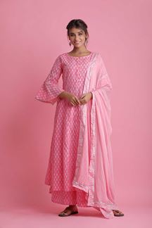 Picture of Pink Colored Hand Block Print Palazzo Suit