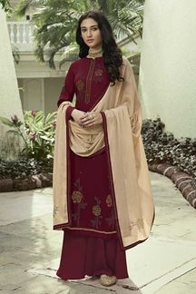 Picture of Designer Maroon Colored Party Wear Soft Silk Palazzo Suit (Unstitched suit)
