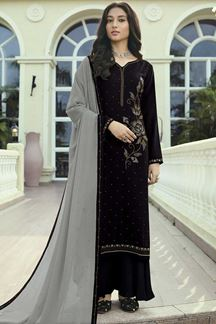 Picture of Designer Black Colored Party Wear Soft Silk Palazzo Suit (Unstitched suit)