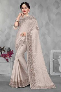Picture of Designer Grey Colored Party wear Satin Saree