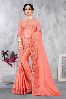 Picture of Mesmerizing Peach Colored Party wear Satin Saree