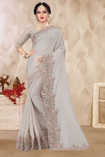 Picture of Classy Grey Colored Party wear Satin Saree