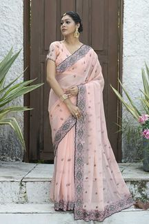 Picture of Designer Baby Pink Colored Embroider Saree