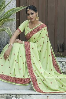 Picture of Designer Pastel Colored Embroider Saree