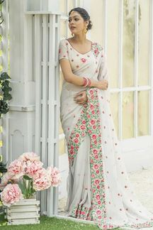 Picture of White Color Designer Embroider Saree