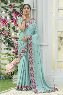 Picture of Designer Sky Blue Colored Embroider Saree
