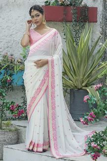 Picture of Pleasant White Colored Designer Embroider Saree