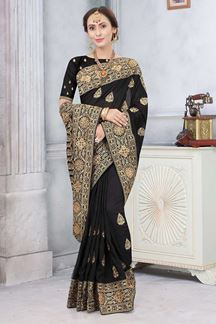 Picture of Black Colored Partywear Vichitra Blooming Silk