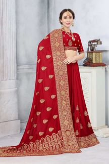 Picture of Red Colored Partywear Vichitra Blooming Silk
