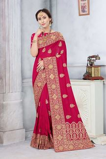 Picture of Gajari Colored Partywear Vichitra Blooming Silk