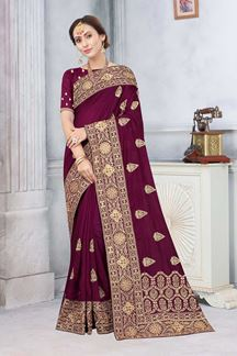 Picture of Wine Colored Partywear Vichitra Blooming Silk