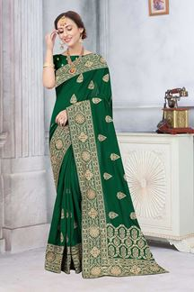 Picture of Bottle Green Colored Partywear Vichitra Blooming Silk