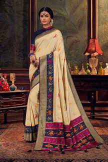 Picture of Cream Colored Dola Silk Designer Saree