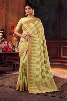 Picture of Light Parrot Green  Colored Dola Silk Designer Saree