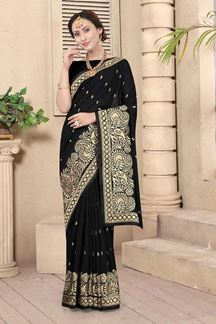 Picture of Black Colored Embroidery Vichitra Blooming Silk Saree