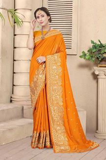 Picture of Mustard Colored Embroidery Vichitra Blooming Silk Saree