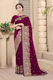 Picture of Wine Colored Embroidery Vichitra Blooming Silk Saree