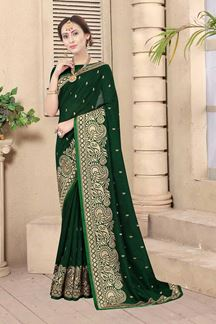 Picture of Bottle Green Colored Embroidery Vichitra Blooming Silk Saree