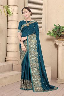 Picture of Peacock Blue Colored Embroidery Vichitra Blooming Silk Saree