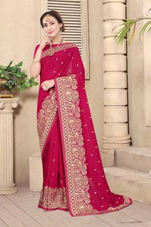 Picture of Rani Colored Embroidery Vichitra Blooming Silk Saree