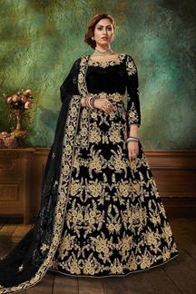 Picture of Black Colored Designer Velvet Anarkali Suit (Unstitched suit)