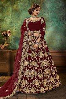Picture of Maroon Colored Designer Velvet Anarkali Suit (Unstitched suit)