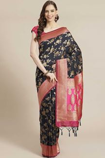Picture of Navy Blue Colored Viscose Silk Saree