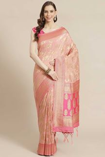 Picture of Peach Colored Viscose Silk Saree