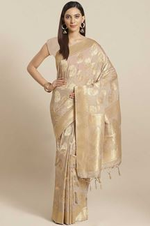 Picture of Beige Colored Viscose Silk Weaving Saree