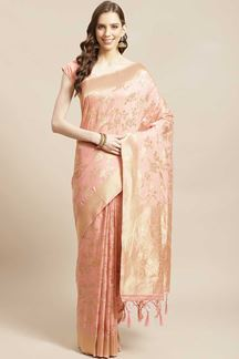 Picture of Peach Colored Designer Classic Party Wear Saree
