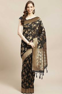Picture of Black Colored Designer Classic Party Wear Saree