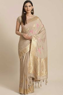 Picture of Classic  Beige  Colored  Designer Party Wear Saree
