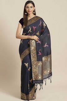 Picture of Classic Navy Blue Colored  Designer Party Wear Saree