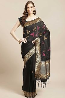 Picture of Classic Black Colored  Designer Party Wear Saree