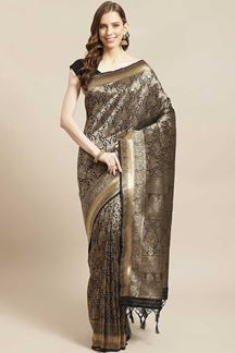 Picture of Party wear Black Colored  Viscose Silk Saree
