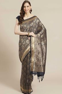 Picture of Party wear Navy Blue Colored  Viscose Silk Saree