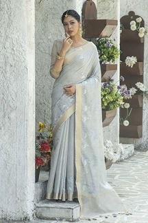 Picture of Intricate Grey Colored Designer Saree
