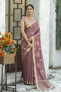 Picture of Charming Onion Pink Colored Designer Saree