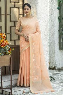 Picture of Delightful Peach Colored Designer Saree